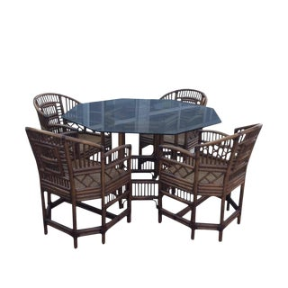Vintage Brighton Style Bamboo Dining Table and Chairs -Set of 5