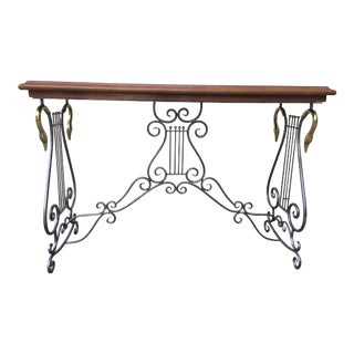 1970's Traditional Maitland Smith Iron & Brass With Leather Embossed Top Console Table For Sale