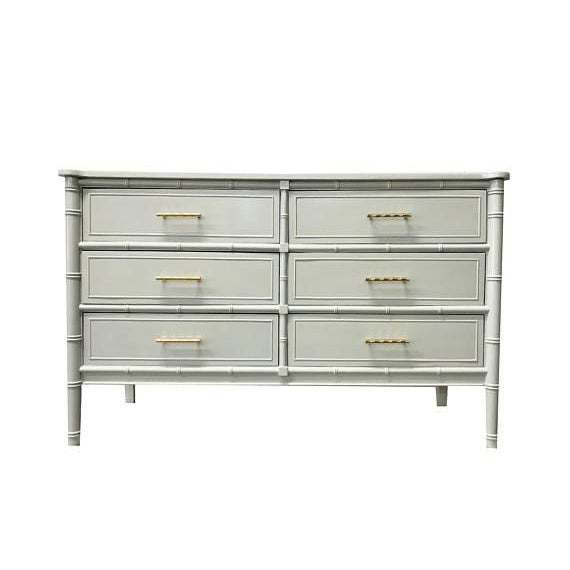 Gray Bamboo Transitional Dresser For Sale - Image 5 of 5