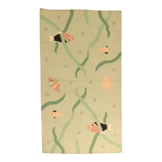 Cotton Fish Dhurrie Rug, 3' X 4'11'' For Sale