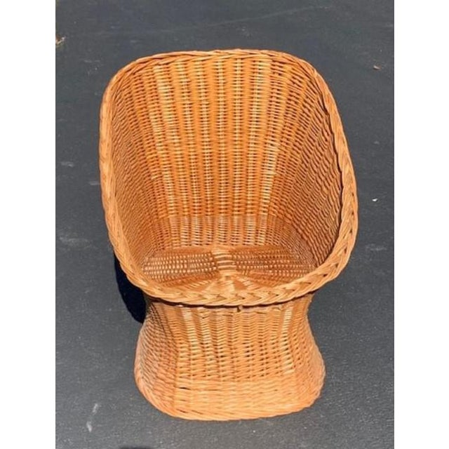 Mid 20th Century Vintage Mid Century Wicker Bucket Chair For Sale - Image 5 of 5