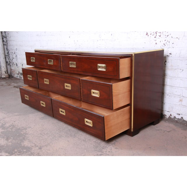 1980s Baker Furniture Brass Campaign Style Long Dresser For Sale - Image 5 of 13