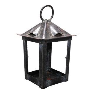 Antique Arts & Crafts Stickley School Metal Lantern, circa 1920 For Sale