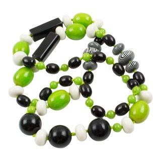 Bakelite & Lucite Necklace Extra Long Shape Black-White & Apple Green Beads For Sale