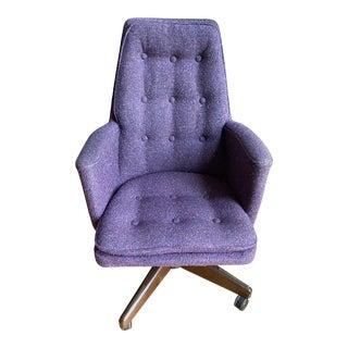 Mid-Century Modern Purple Confetti Boucle Office Swivel Chair For Sale