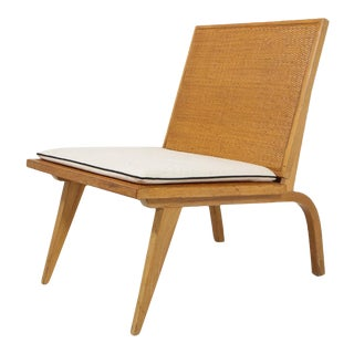 Midcentury Woven Oak Lounge Chair by Edward Durell Stone