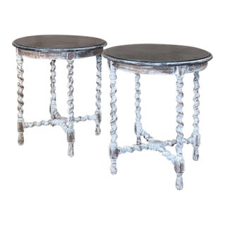 Pair Antique Barley Twist Painted End Tables For Sale