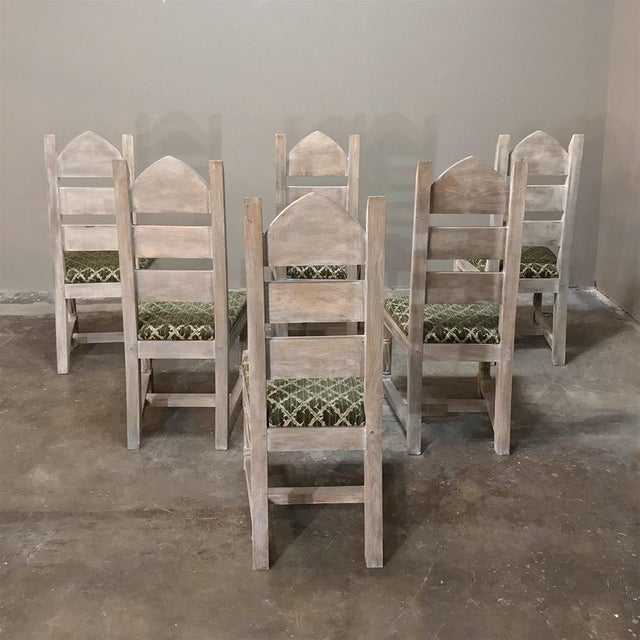 Gothic Early 20th Century Antique Rustic Gothic Stripped Dining Chairs- Set of 6 For Sale - Image 3 of 12