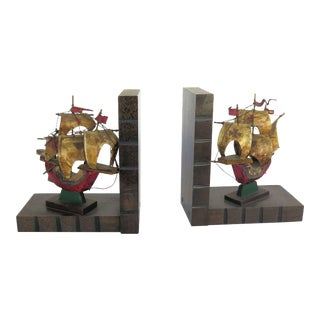 Vintage Pirate Galleon Bookends - a Pair For Sale