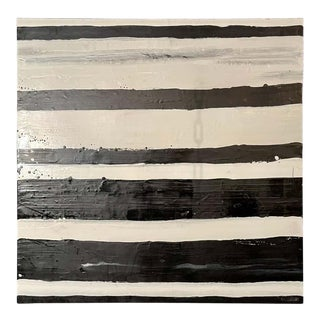 "Lynn Basa Encaustic Black and White Stripe Panel ""Doppleganger"" 2013 For Sale"