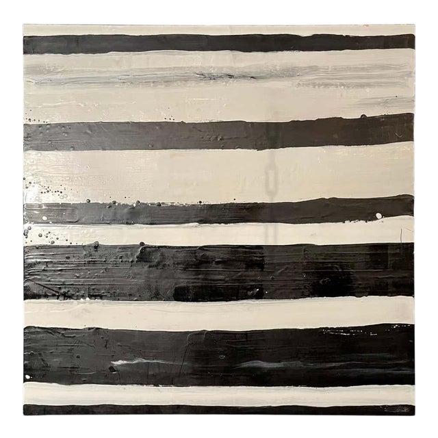 """Lynn Basa Encaustic Black and White Stripe Panel """"Doppleganger"""" 2013 For Sale"""