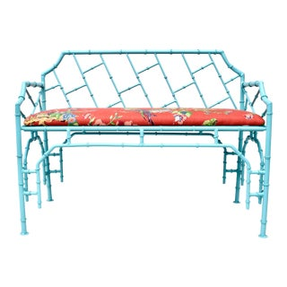 1970's Iron Faux Bamboo Settee For Sale