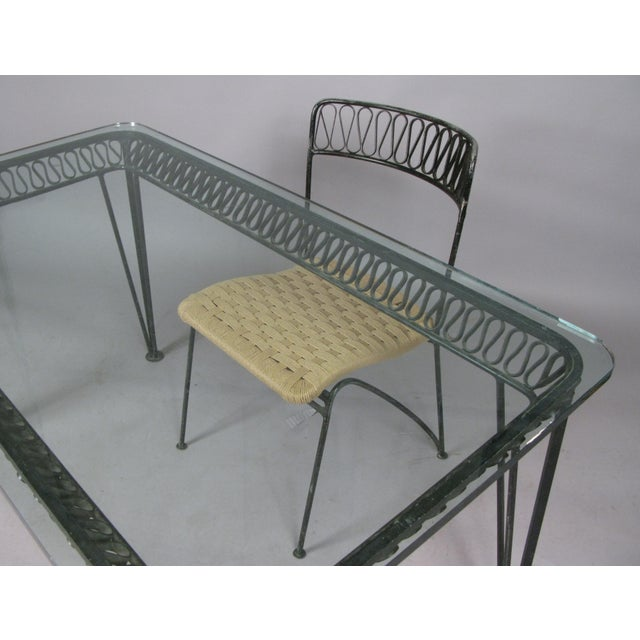 Salterini 1950s Vintage Tempestini Wrought Iron Desk and Chair For Sale - Image 4 of 8