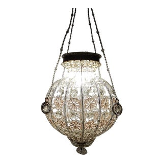 French Maison 1940's Bagues Pink & Clear Huge Beaded Crystal Lantern Chandelier For Sale