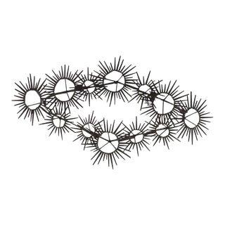 Mid-Century Modern Brutalist Sunburst Starburst Metal Nail Wall Art For Sale