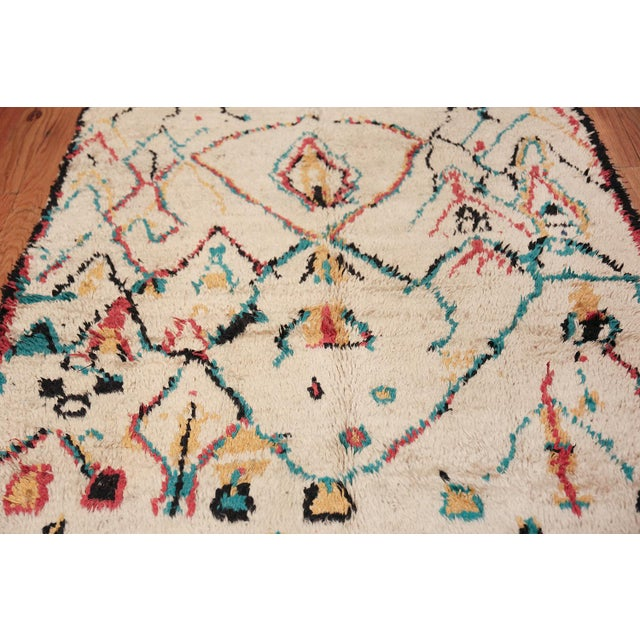 Mid 20th Century Small Vintage Moroccan Colorful Rug - 4′2″ × 7′ For Sale - Image 5 of 10