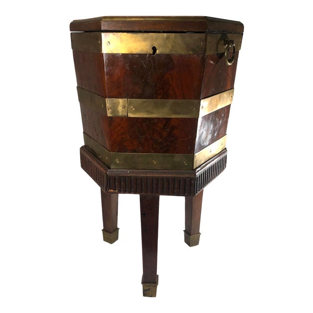 Late 18th Century English George III Period Mahogany and Brass Bound Cellarette Side Table For Sale