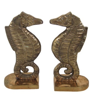 Brass Seahorse Bookends For Sale
