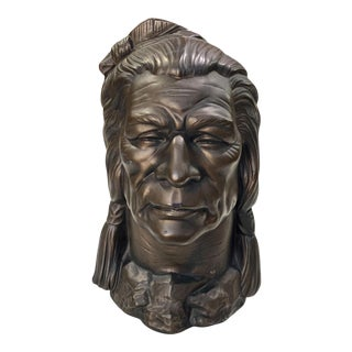 Vintage Large Plaster Native American Indian Chief Bust Sculpture For Sale