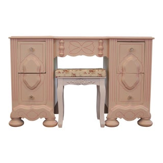 Vintage Bohemian Light Pink Stenciled Painted Vanity Desk with Bench Set For Sale