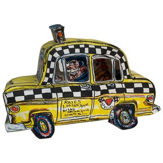 1986 Modern Red Grooms 3d New York City Taxi Lithograph For Sale