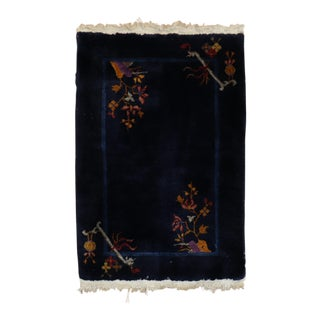 Midnight Blue Chinese Art Deco Rug, 2'1'' X 3' For Sale