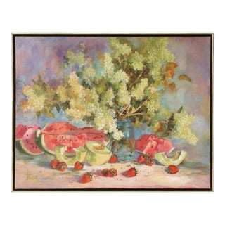 Large American School Still Life Painting on Canvas For Sale