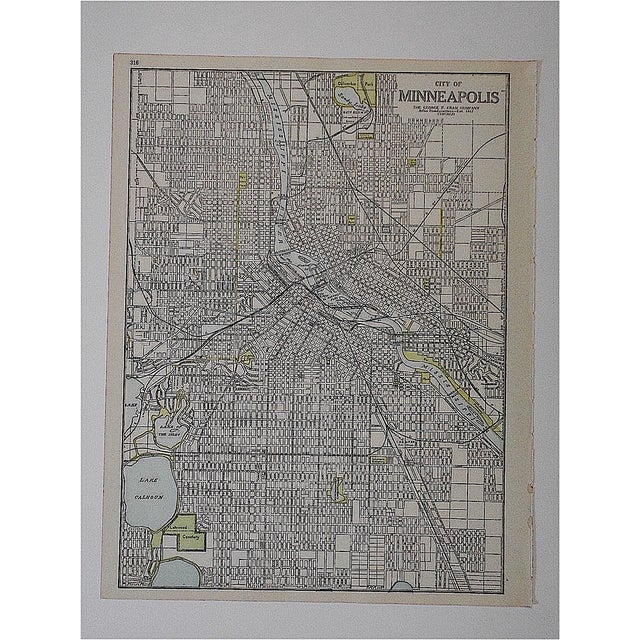City Map Antique Lithograph - Minneapolis, MN - Image 2 of 3