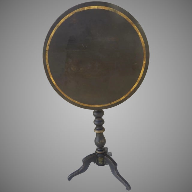 Wood English Painted Gilt Tilt Top Table C 1860 Side Table For Sale - Image 7 of 7