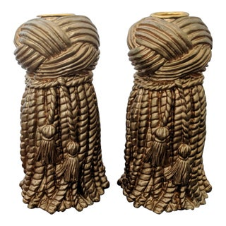 Pair of Hollywood Regency Gold Rope and Tassel Plaster Candle Holders For Sale