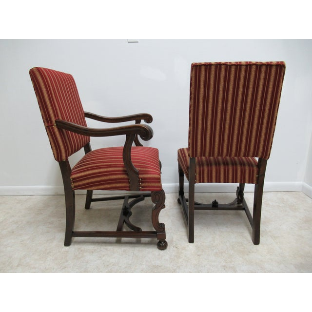 Wood Antique Berkey Gay French Empire Walnut Dining Room Arm Chairs - Set of 6 For Sale - Image 7 of 12