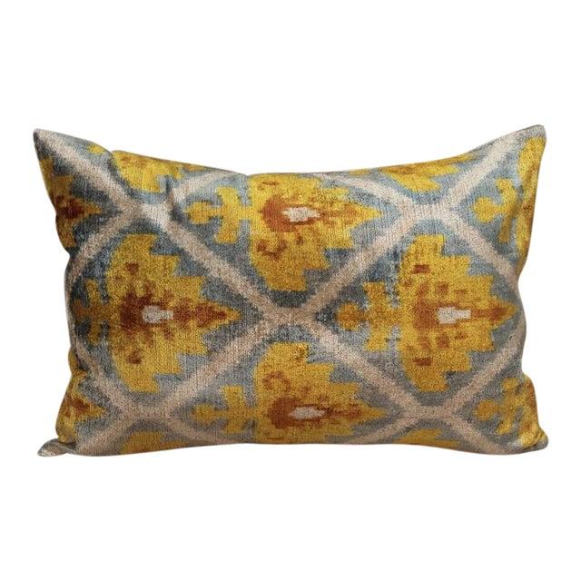 Lattice Ikat Silk Velvet Pillow - Image 1 of 4