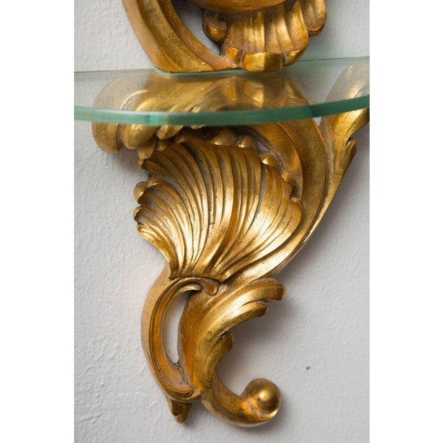 1950s Pair of Gilt Rococo Style Brackets with Glass Shelves For Sale - Image 5 of 8