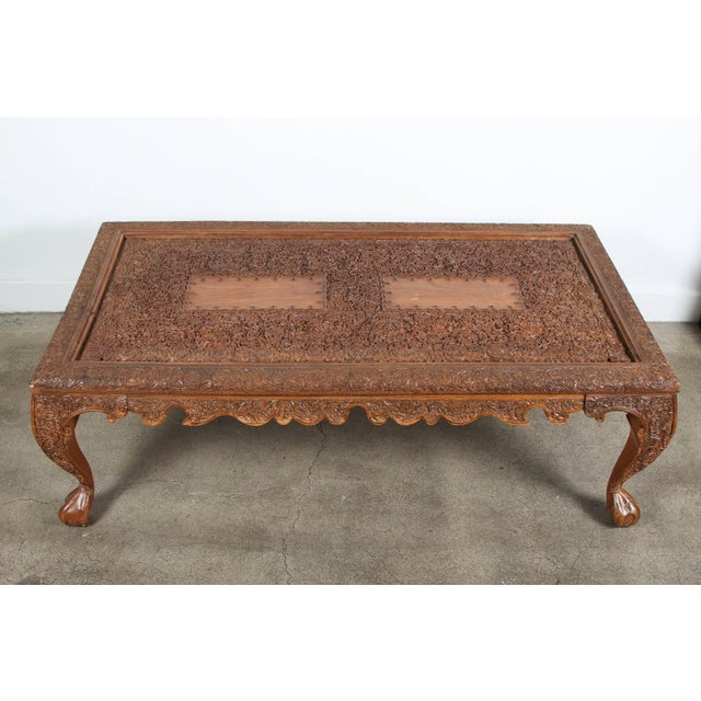 fabulous anglo indian coffee table great quality and very fine hand carved wood - Carved Wooden Coffee Tables