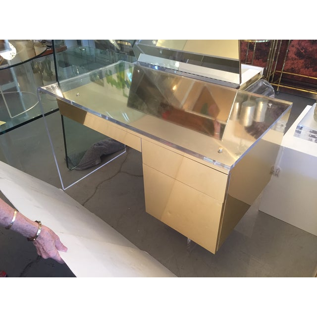 Vintage 1970s Lucite & Brass Desk - Image 9 of 10