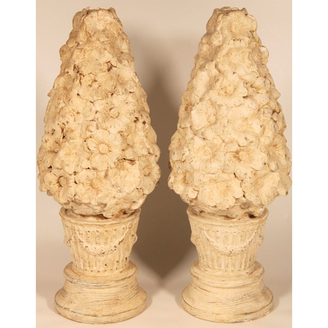 A fabulous pair of Italian style ceramic floral topiaries. These would be excellent mantle decorations, or garden...