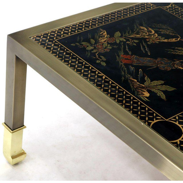 Brass and Gold Decorated Reverse Painted Glass Top Square Coffee Table For Sale - Image 10 of 13