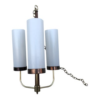 Vintage Brass and Wood Hanging Lamp For Sale