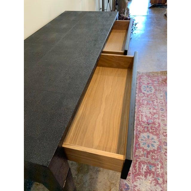 Made Goods Made Goods Black Faux Shagreen Desk For Sale - Image 4 of 9