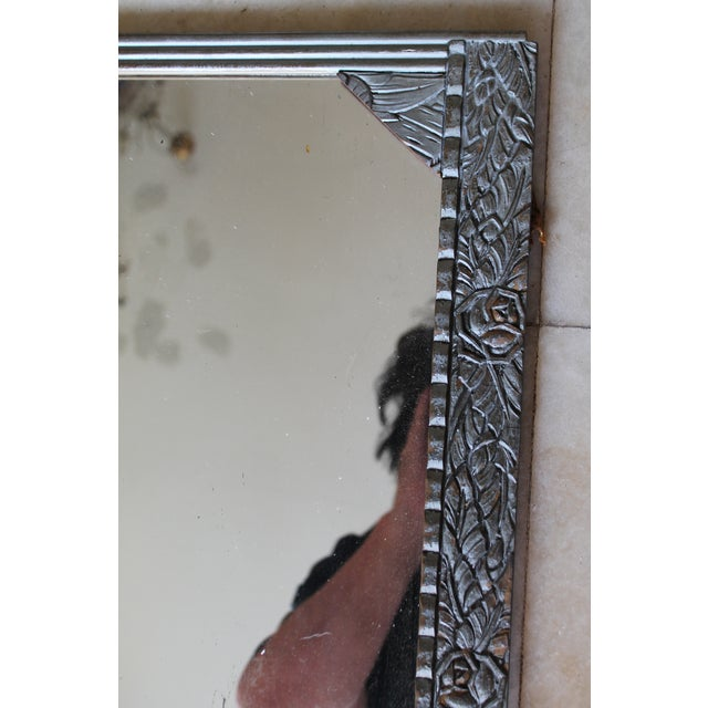 Antique French Art Deco Carved Wood Distressed Silver Wall Mirror C1920's For Sale In Miami - Image 6 of 10