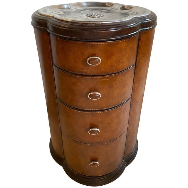 Regency Style Cigar Table, Stitched Leather and Inlaid Tray Top Manner Lauren For Sale - Image 13 of 13