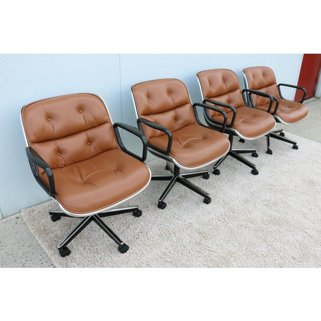 Aluminum Brown Leather Knoll Pollock Executive Chair For Sale - Image 7 of 13