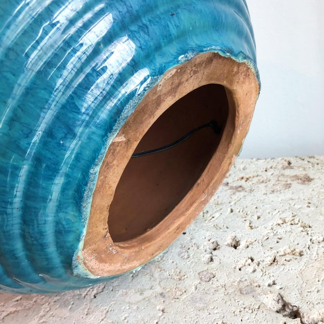 Teal Vintage Teal Round Glazed Terra Cotta Lamps - a Pair For Sale - Image 8 of 10