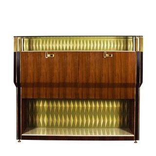 1950´s Important Dry Bar, Mahogany, Zebra Wood, Onyx, Glass, Brass - Italy For Sale