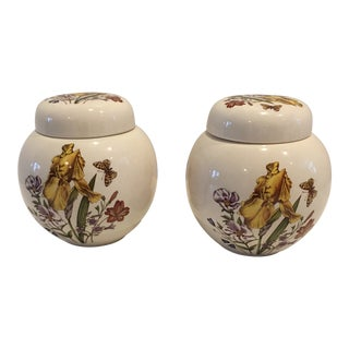 Pair of English Vintage Mason Ginger Jars For Sale