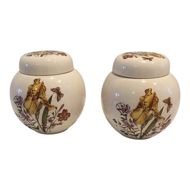 Pair of English Vintage Mason Ginger Jars For Sale