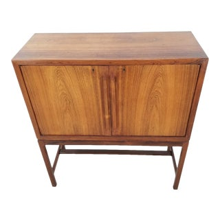 Mid Century Danish Rosewood Lighted Bar Cabinet by Torbjorn Afdal for Bruksbo For Sale