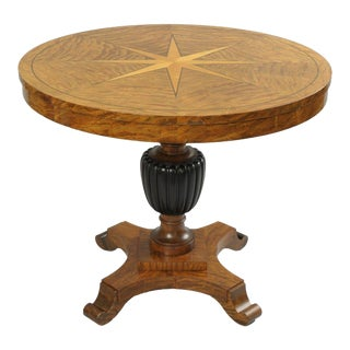 "Biedermeier Style 36"" Round Center Table Star Inlaid Marquetry Burl Wood Veneer"