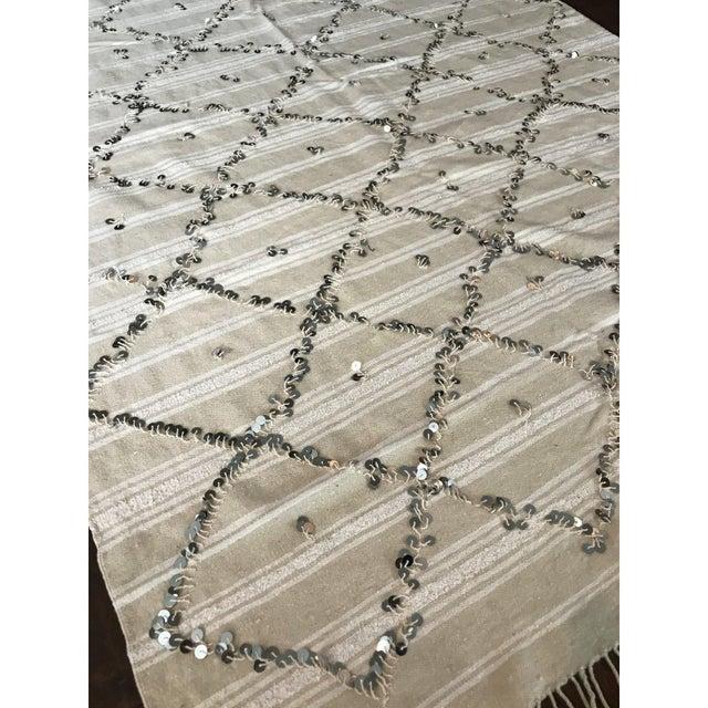 Moroccan Wedding Blanket.Vintage Sequined Moroccan Wedding Blanket Handira Wall Hanging