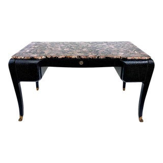 Maitland Smith Leather Desk With Tessellated Abalone For Sale